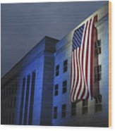 A Memorial Flag Is Illuminated On The Wood Print