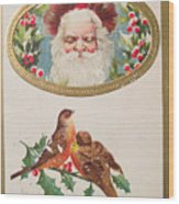 A Merry Christmas From Santa Claus Vintage Greeting Card With Robins Wood Print