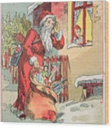 A Merry Christmas Vintage Greetings From Santa Claus And His Gifts Wood Print