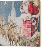 A Merry Christmas Vintage Greetings From Santa Claus And His Raindeer Wood Print
