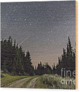 A Meteor And The Big Dipper Wood Print