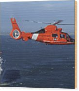 A Mh-65c Dolphin Helicopter Wood Print