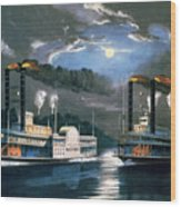 A Midnight Race On The Mississippi Wood Print