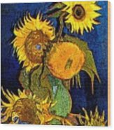 A Modern Look At Vincent's Vase With 5 Sunflowers Wood Print