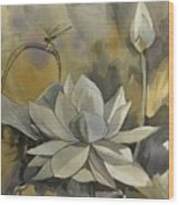 A Moment At The Lotus Pond Wood Print