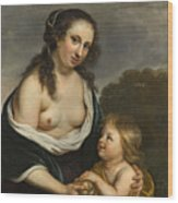 A Mother And Her Son In The Guise Of Venus And Cupid Wood Print