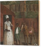 A Mother With Her Son And A Pony Wood Print