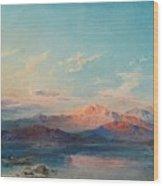 A Mountain Lake At Sunset Wood Print