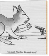 A Mouse Is In Front Of A Mouse Hole Pointing Wood Print