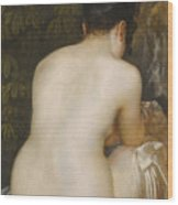 A Naked Woman Seen From Behind Wood Print