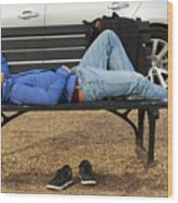 A Nap In The Park Wood Print