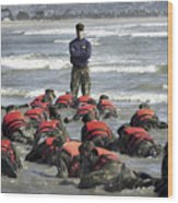 A Navy Seal Instructor Assists Students Wood Print