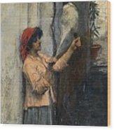 A Neapolitan Flax Spinner John William Waterhouse Wood Print