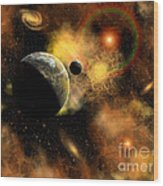 A Nebulous Star System In A Distant Wood Print