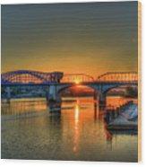 A New Day Chattanooga Sunrise Market Street Bridge Wood Print