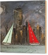 A New York Sail Wood Print