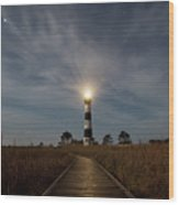 A Night At Bodie Island Lighthouse Wood Print