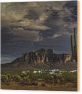 A Night In The Superstitions  Wood Print