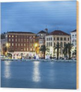 A Night View Of Split Old Town Waterfront In Croatia Wood Print
