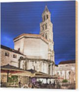 A Night View Of The Cathedral Of Saint Domnius In Split Wood Print