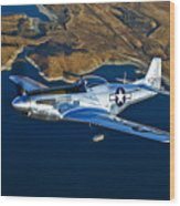 A North American P-51d Mustang Flying Wood Print