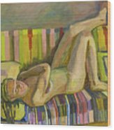 A Nude Lying Legs Up Wood Print