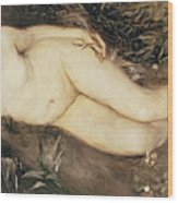 A Nymph By A Stream Wood Print