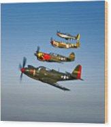 A P-36 Kingcobra, Two Curtiss P-40n Wood Print