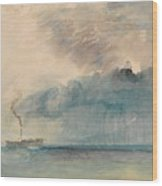 A Paddle-steamer In A Storm Wood Print