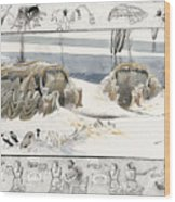 A Painting Depicts Ice Age People Wood Print