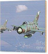 A Pair Of Bulgarian Air Force Mig-21bis Wood Print