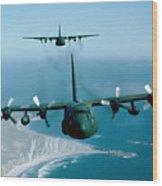 A Pair Of C-130 Hercules In Flight Wood Print