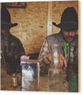 A Pair Of Cowboys Enjoy A Cup Of Coffee Wood Print