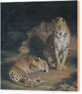 A Pair Of Leopards Wood Print
