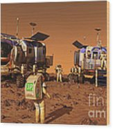 A Pair Of Manned Mars Rovers Rendezvous Wood Print