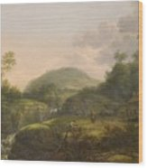 A Pair Of Mountain Landscapes With Staffage Wood Print