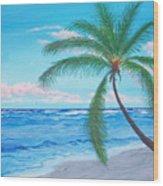 A Palm At Sunrise Wood Print