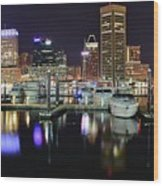 A Panoramic Baltimore Night Wood Print