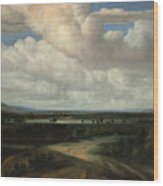 A Panoramic Landscape With A Country Estate Wood Print