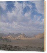 A Panoramic View Of The Wadi Rum Region Wood Print by Gordon Wiltsie
