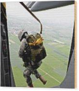 A Paratrooper Executes An Airborne Jump Wood Print