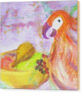 A Parrot And The Passion Fruit Wood Print