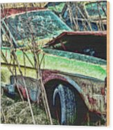A Parted Out Mustang Wood Print