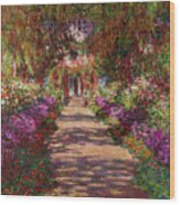 A Pathway In Monets Garden Giverny Wood Print by Claude Monet