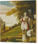 A Peaceable Kingdom With Quakers Bearing Banners Wood Print