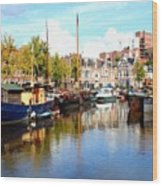 A Peaceful Canal Scene - The Netherlands L B Wood Print