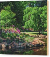 A Peaceful Feeling At The Azalea Pond Wood Print