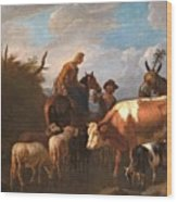 A Peasant Couple Amongst Their Cattle And Sheep Wood Print
