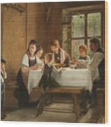 A Peasant Family At Their Meal With A Crying Boy Wood Print