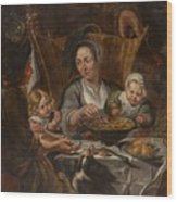 A Peasant Family Dining Wood Print